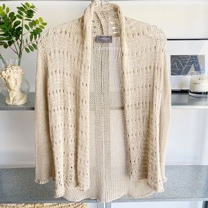 WOODEN SHIPS knit cream cardigan sweater top Anthropologie medium large